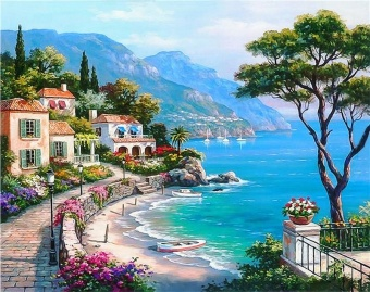 Newest Trendying DIY 5D Diamond Embroidery Painting Cross StitchHome Decoration/Aegean Sea - intl