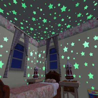 niceEshop 100pcs Wall Stickers Decal Glow In The Dark Baby KidsBedroom Home Decor Color Stars Luminous Fluorescent Wall StickersDecal (Lake Blue) - intl - 2