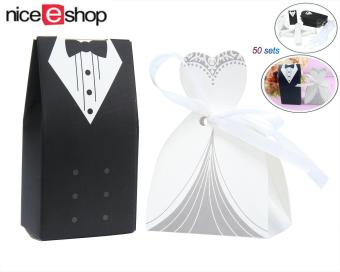 niceEshop 50sets Bride And Groom Wedding Candy Favour Formal DressTuxedoDress Candy Gift Boxes