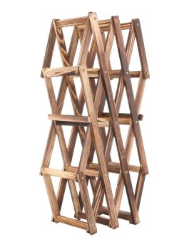 niceEshop Creative Foldable 10 Bottle Wooden Wine Rack OrganizerDisplay Shelf (Carbonized Color) - 5