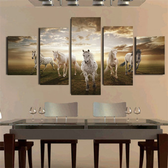 NO Frame 5 Panel Art Pictures Running Horse Large HD Modern Home Wall Decor Abstract Canvas Oil Painting