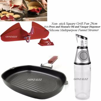Non-stick Square Grill Pan 28cm With Press and Measure Oil andVinegar Dispenser And Silicone Multipurpose Funnel Strainer (Red)