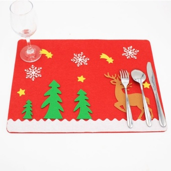 Non-woven Mat Placemats For Christmas Festival Party Decorations (Elk) by LuckyG - intl