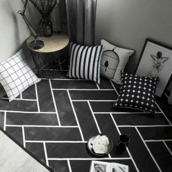 Nordic-style Black and White Stripe Minimalist Modern Mat