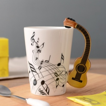 Novelty Guitar Ceramic Cup Personality Music Note Milk Juice LemonMug Coffee Tea Cup Home Office Drink ware Unique Gift - intl Price Philippines