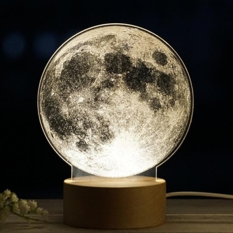 Novelty Table Desk Lamp Night Light Gift USB Charger for KidsFriends (Moon) - intl