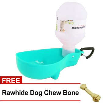 Nunbell 300mL Pet Dog Cat Automatic Water Bottle Feeder DispenserBowl (Light Blue) with FREE Rawhide Dog Chew Bone