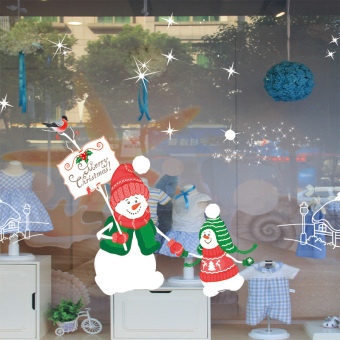 Nuo mall shop glass door Christmas window stickers Christmas adhesive paper