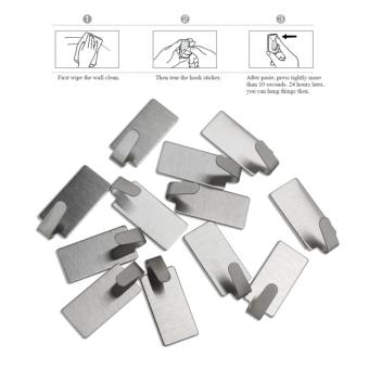 NUOLUX 12pcs Adhesive Stainless Steel Towel Hooks Towel Racks WallHooks for Kitchen Bathroom - Intl - 3