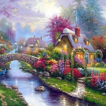 OEM 5D DIY Diamond Painting Garden Landscape Mosaic EmbroideryNeedlework Kit Wall Art Living Room Home Decor