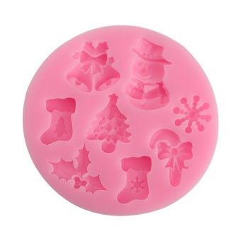 OH 3D Christmas Silicone Fondant Mould Cake Mold DIY ChocolateBaking Tool Pink - intl Price Philippines