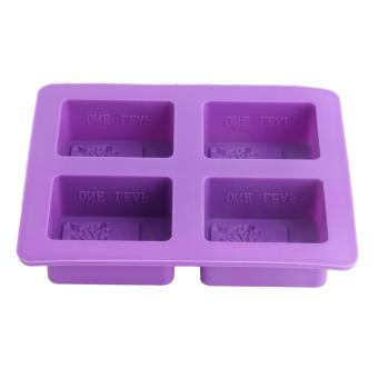 OH 4 Cavity Rectangular Tree Shape Silicone DIY Molds For Handmade Soap Cake Purple