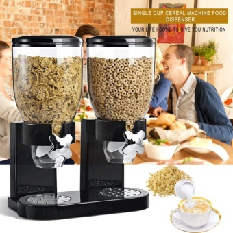 OH Double Cup Cereal Dry Food Dispenser Storage Container Dispense Kitchen Machine for Gift Black - intl - 2