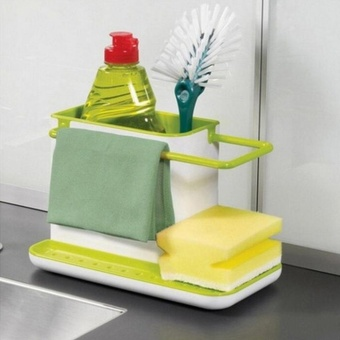 OH Kitchen Sink Utensil Holder Drainer Plastic Rack Organizer Caddy Storage White Green - intl