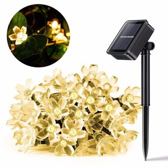 Outdoor Solar String Lights, 50 Led Solar Fairy Lights, Cherry Flower String Lights for Holiday Decoration, Waterproof (Warm White) - intl