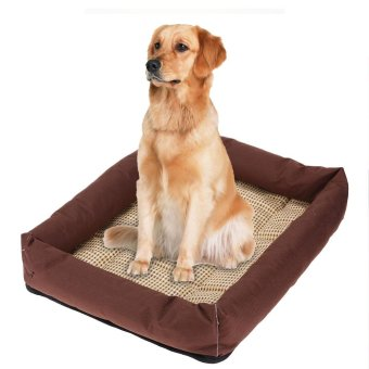 Oxford Cloth Pet Bed Cushion Dog Summer Cooling Pad Mat(Brown S) -intl - 2