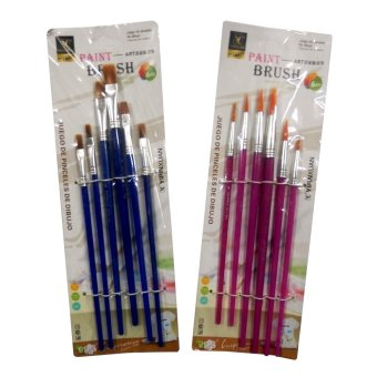 Paint Brush Flat & Round (6pcs/pack) Set of 2 (Assorted)