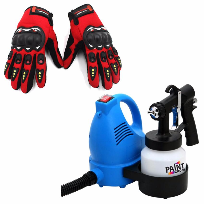 Paint Zoom Sprayer (Blue/White) With Free High Quality JingpinMotorcycle Racing Outdoor Sports Full Finger Gloves (Red)