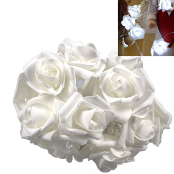 PAlight 220V EU Plug 10 LED Rose Flower String Lights Fairy Wedding Party Christmas Decoration (color:White) - intl - picture 2