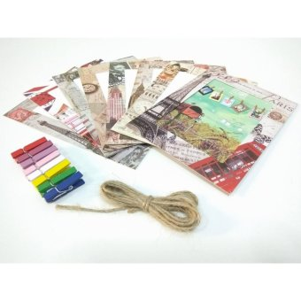 Paper Photo Frame Album Display Photograph Hanging Clip Rope Set