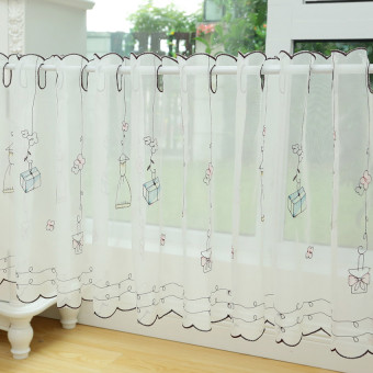 Pastoral fabric lace curtain coffee curtain