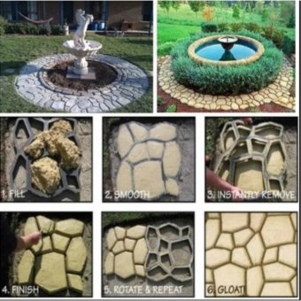Pavement Mold DIY Plastic Path Maker Mold Garden Stone Road Concrete Mold Manually Paving Cement Brick Molds 50*50*4.4cm - intl - 4