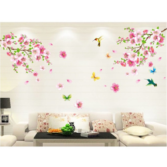 Peach Blossom Flower Bird Removable Wall Sticker TV Sofa Wall Decor Art