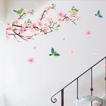 Peaches Flowers Magpie Birds Petals Wall Decal Home Sticker PVCMurals Paper House Decoration Wallpaper Living Room Bedroom ArtPicture for Kids Teen Senior Adult Baby - intl - 4