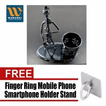 Pen Stand Stainless D003 with free Finger Ring Mobile PhoneSmartphone Holder Stand for iPhone (Silver)
