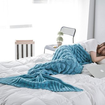 PENI Mermaid Tail Blanket with Fish-Scale Pattern Crochet Warm Living Room Sofa Throws Perfect Christmas gift for Kids and Adults 74.80 inch x 35.43 inch(190 cm x 90 cm)(Peacock blue) - intl