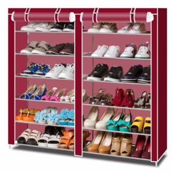 Perfect-Quality Double Capacity 6 Layer Shoe Rack Shoe Cabinet(Maroon) Price Philippines