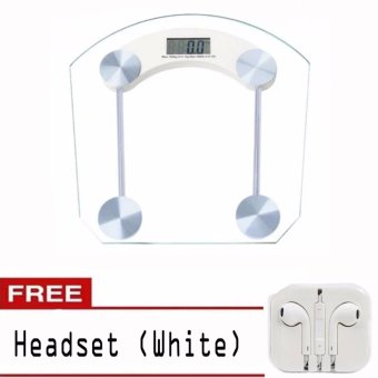 Personal Digital Tempered glass thicker version Weighing Scale withHeadset (White)
