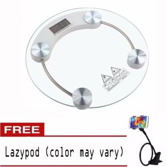 Personal Digital Tempered glass thicker version Weighing ScaleRound with free Lazypod (color may vary)