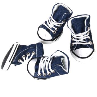 Pet Dog Shoes Boots Sneakers Denim Blue Size 5