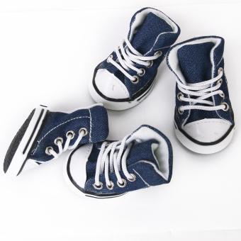 Pet Dog Shoes Boots Sneakers Denim Blue Size 5 - picture 2