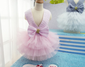 Pet Dogs Bubble Skirt with Bowknot Princess Dress pink - intl - 2