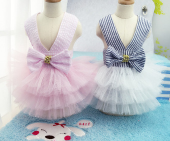 Pet Dogs Bubble Skirt with Bowknot Princess Dress pink - intl - 3
