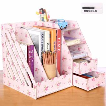Phoebe's Diy Wooden Office File Rack Magazine Book Desktop Organizer with Drawer(Pink Floral)