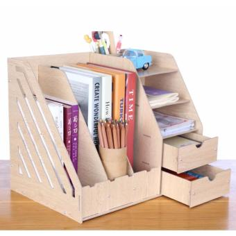 Phoebe's Diy Wooden Office File Rack Magazine Book Desktop Organizer with Drawer(White Oak)