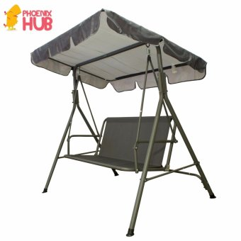 PhoenixHub HIGH QUALITY Portable Foldable HEAVY DUTY 2-3Person 210kg Capacity Garden Porch Yard Outdoor Swing (Gray)