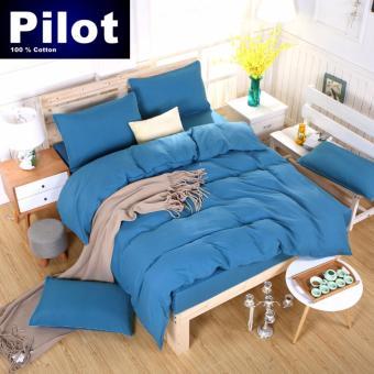 Pilot PL001 Bedding New Arrival 4 in 1 Plain Color Skin-Friendly Soft and Comfortable Cotton Symphony Style Best Wedding Gift Bedding Suit (Plain Light Blue) - 5