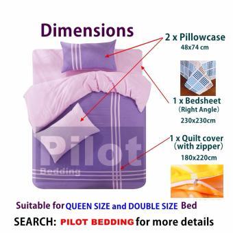 Pilot PL001 Bedding New Arrival 4 in 1 Plain Color Skin-Friendly Soft and Comfortable Cotton Symphony Style Best Wedding Gift Bedding Suit (Plain Light Blue) - 3