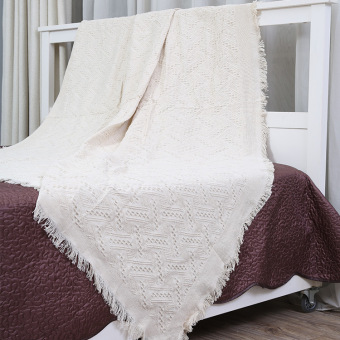 Plaid pure cotton thread white three-dimensional extra-large tablecloth blanket