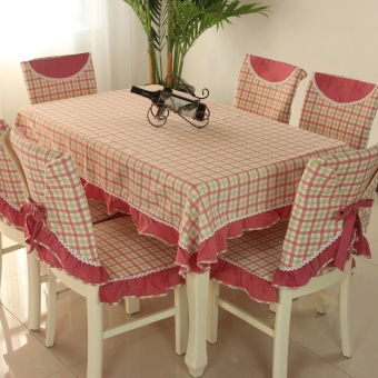 Plaid rectangular dining table cloth chair cover