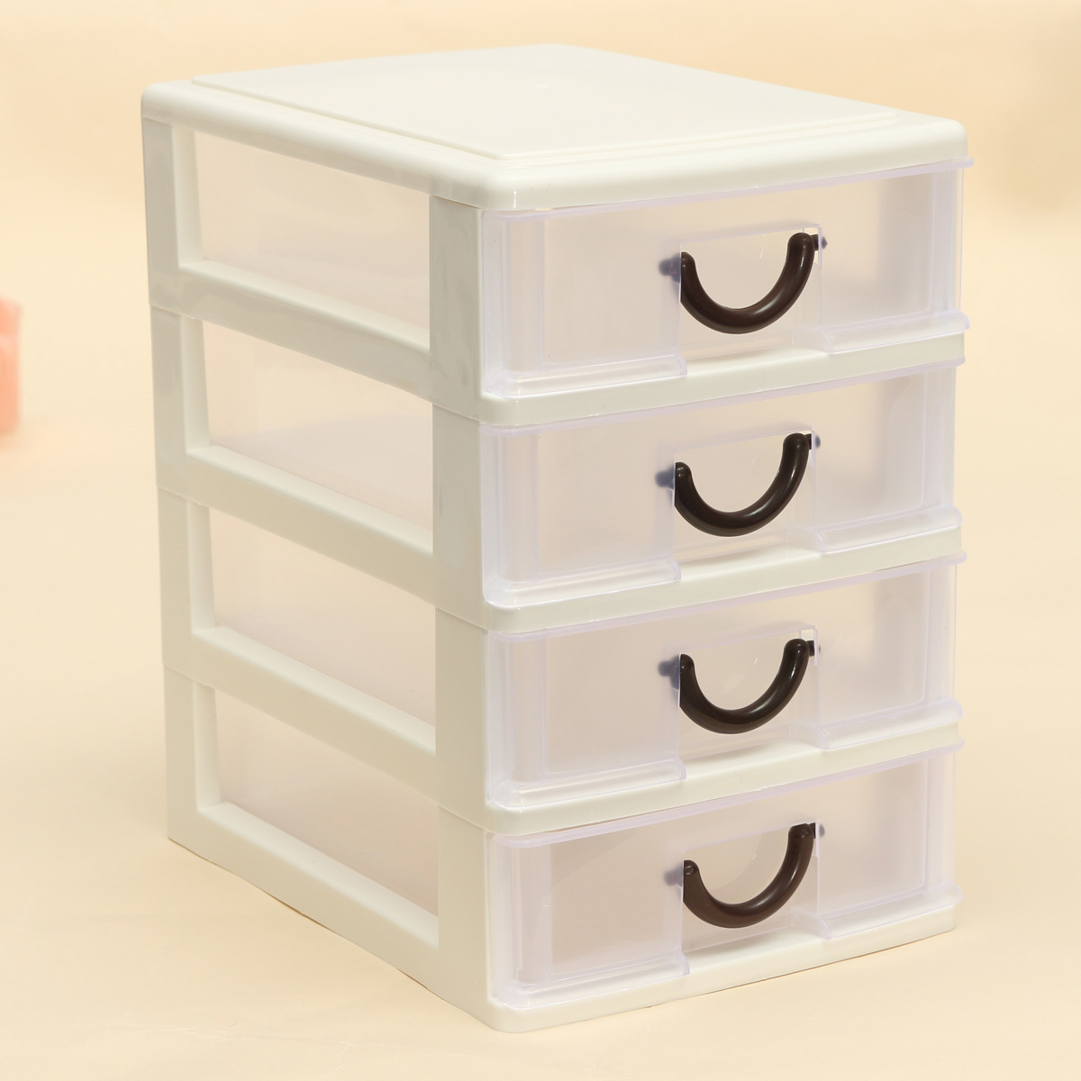 Plastic Desktop Cosmetics Jewelry Watch Organizer Holder Box Storage Case Drawer White Four Drawers Intl