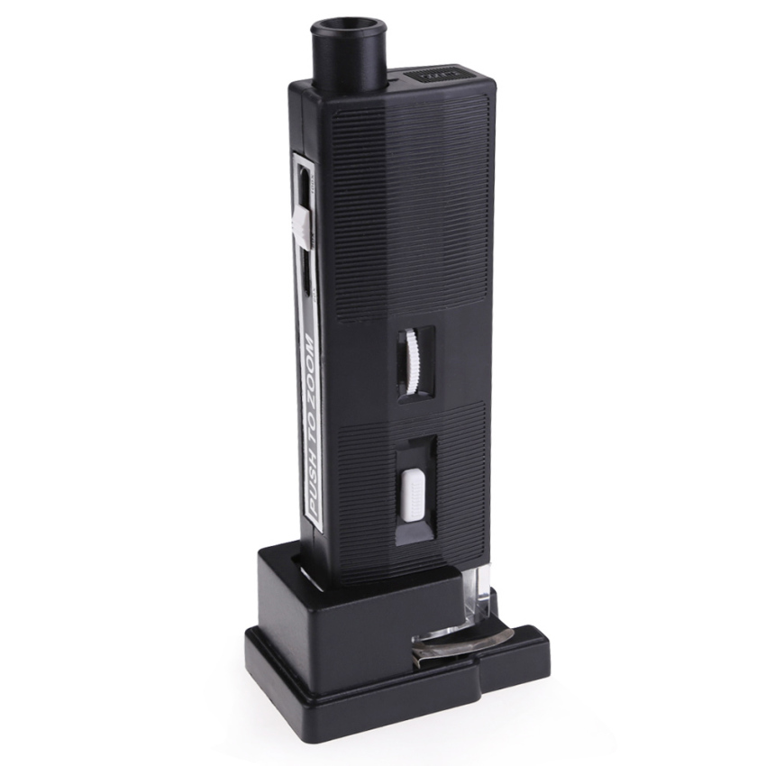 Pocket 60X-100X Zoom Illuminated Microscope Magnifying Loup Lenswith Stand
