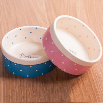 Polka Dot Ceramic Pet Bowls Water Food Feeder Cat Dog Bowl NewDesign Pet Products Pet Care(Blue)