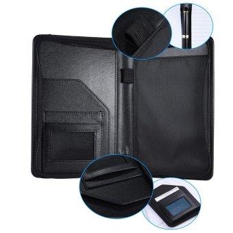 Portable Business Portfolio Padfolio Folder Document Case Organizer A5 PU Leather with Business Card Holder Memo Note Pad Black - intl - 3