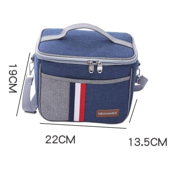 Portable Denim Lunch Bags Cooler Bag Heat Insulated Kid Bento BoxLunch Storage Bags Small Picnic Carry Basket Bag Cooler Bento PouchTote - intl