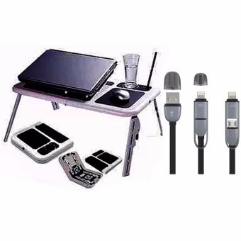 Portable Foldable Laptop E-Table With Cooling Fan with 2 in 1 USBCord Color May Vary